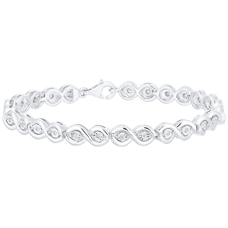 Sterling Silver 1/4ct Diamond Illusion Set Bracelet - Product number 4756592