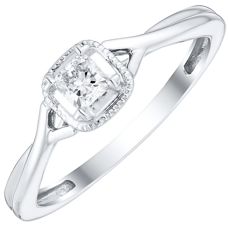 9ct White Gold 1/10 Carat Diamond Solitaire Crossover Ring - Product number 4757424