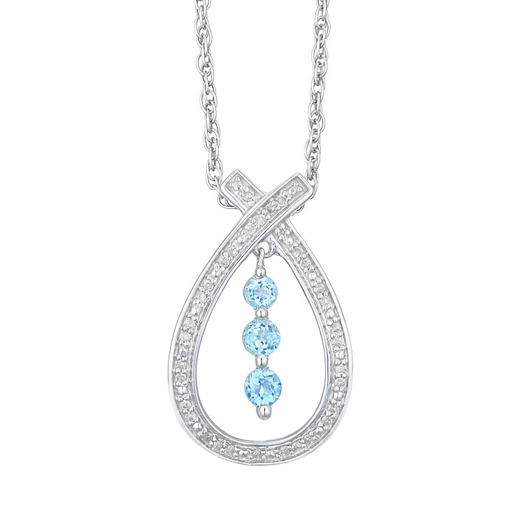 Sterling Silver Diamond & Blue Topaz Moving Pendant - Product number 4757688