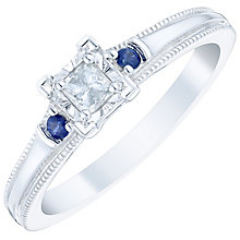 9ct White Gold 0.15 Carat Diamond & Sapphire Ring - Product number 4757823