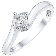 9ct White Gold Princess Cut Diamond Solitaire Ring - Product number 4757955