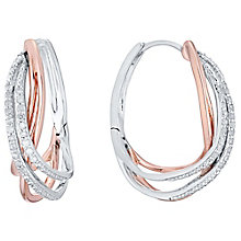 Silver & 9ct Rose Gold 1/10ct Diamond Hoop Earrings - Product number 4758099