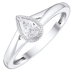 9ct White Gold 0.15 Carat Pear Shaped Diamond Solitaire Ring - Product number 4758374