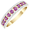 9ct Gold Ruby & 0.10 Carat Diamond Triple Row Eternity Ring - Product number 4758633