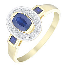 9ct Gold Oval Sapphire & Diamond Set Ring - Product number 4758765