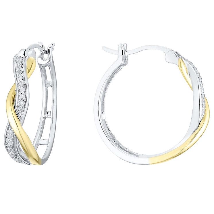 Silver & 9ct Gold 1/10 Carat Diamond Hoop Earrings - Product number 4759737