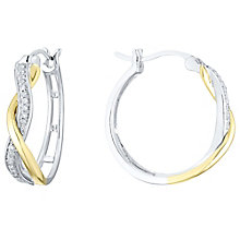 Silver & 9ct Gold 1/10 Carat Diamond Hoop Earrings - Product number 4759737