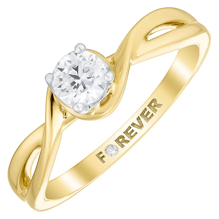 18ct Gold 1/4 Carat Forever Diamond Twist Ring - Product number 4759753