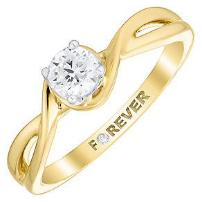 The Forever Diamond 18ct Gold 1/4 Carat Diamond Twist Ring - Product number 4759753
