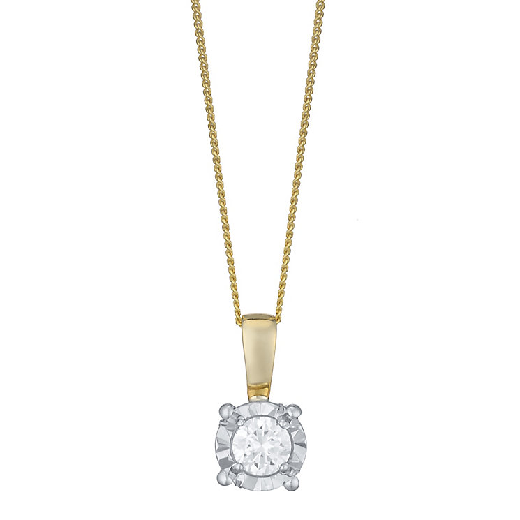 9ct Gold 0.15 Carat Diamond Solitaire Illusion Set Pendant - Product number 4759915