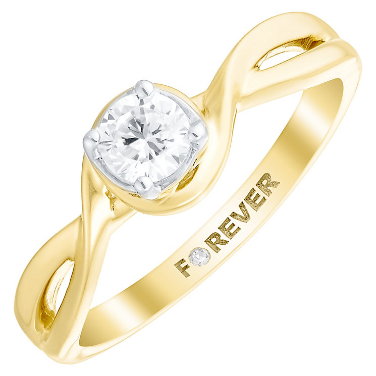 The Forever Diamond 18ct Gold 1/3 Carat Diamond Twist Ring - Product number 4759958