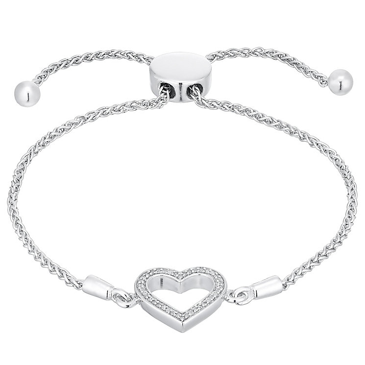 Sterling Silver Diamond Set Heart Bolo Bracelet - Product number 4760417
