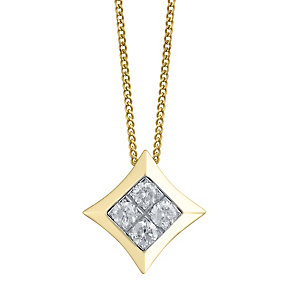 9ct Gold 1/5 Carat Diamond Set Pendant - Product number 4760425