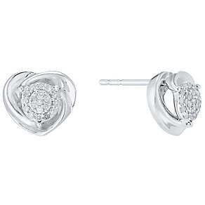 Sterling Silver 1/10ct Diamond Heart Twist Stud Earrings - Product number 4760433