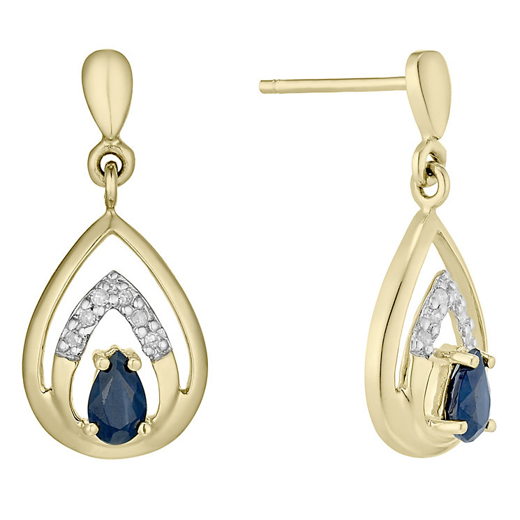 9ct Gold Sapphire & Diamond Set Teardrop Drop Earrings - Product number 4760468