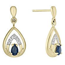 9ct Gold Sapphire & Diamond Set Teardrop Drop Earrings - Product number 4760468