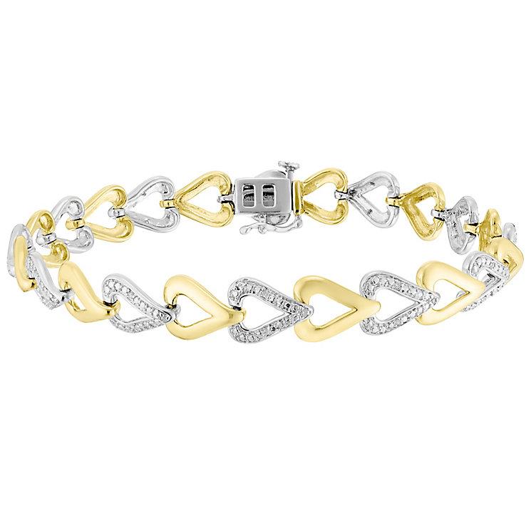 Sterling Silver & 9ct Gold Diamond Set Bracelet - Product number 4760492