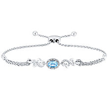 Open Hearts Silver Blue Topaz & Diamond Bolo Bracelet - Product number 4760549