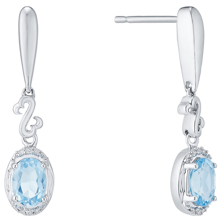 Open Hearts Silver Blue Topaz & Diamond Drop Earrings - Product number 4760557