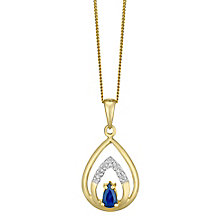 9ct Gold Sapphire & Diamond Set Teardrop Pendant - Product number 4760565