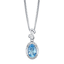Open Hearts Silver Blue Topaz & Diamond Drop Pendant - Product number 4760581