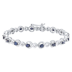 Sterling Silver Sapphire & Diamond Bracelet - Product number 4760603