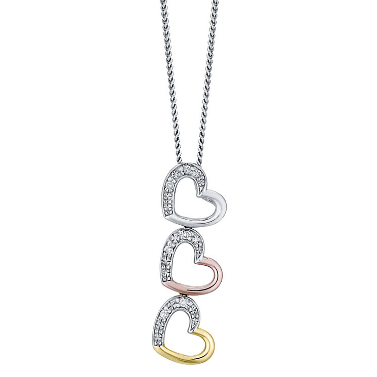 Sterling Silver & 9ct Gold Diamond Set Heart Pendant - Product number 4760611