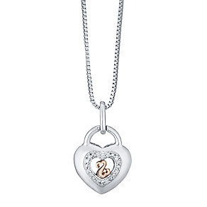 Open Hearts Silver & 9ct Rose Gold Diamond Set Heart Pendant - Product number 4760638