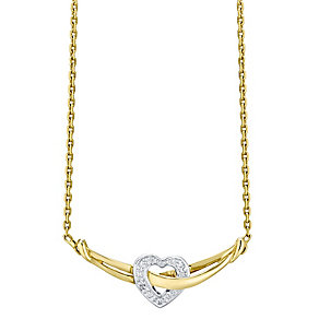 9ct Gold Diamond Set Heart Necklet - Product number 4760654