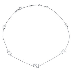 Open Hearts Silver Diamond Set Station Necklace - Product number 4760662