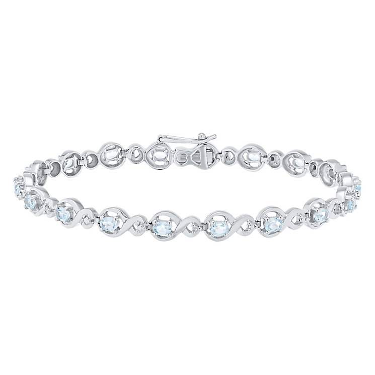 Sterling Silver Blue Topaz & Diamond Set Bracelet - Product number 4760670