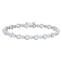 Sterling Silver Blue Topaz & Diamond Set Bracelet - Product number 4760670