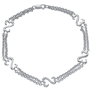 Open Hearts Silver Diamond Set Bracelet - Product number 4760689