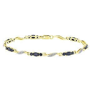 9ct Gold Sapphire & Diamond Set Bracelet - Product number 4760697