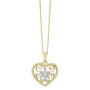 9ct Gold Diamond Set Heart Pendant - Product number 4760743