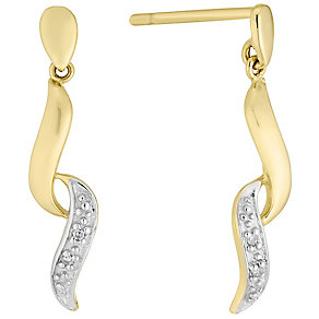 9ct Gold Diamond Set Drop Earrings - Product number 4760778