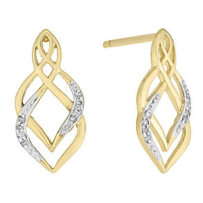 9ct Gold Diamond Set Stud Earrings - Product number 4760794