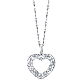 Sterling Silver Diamond Set Heart Pendant - Product number 4760808