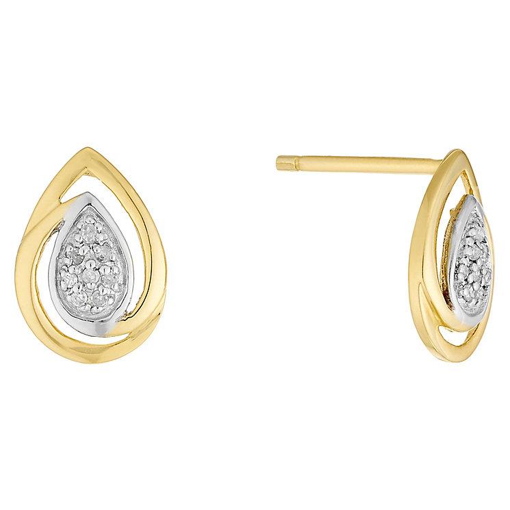9ct Gold Diamond Set Teardrop Stud Earrings - Product number 4760816