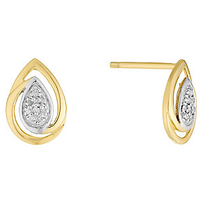 9ct Gold Diamond Set Teardrop Stud Earrings - Product number 4760816