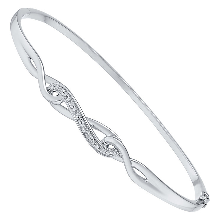 Sterling Silver Diamond Set Bangle - Product number 4760824
