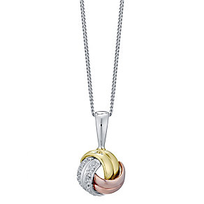 Sterling Silver, 9ct Gold & Rose Gold Diamond Knot Pendant - Product number 4760832