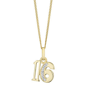 9ct Gold Diamond Set Age 16 Pendant - Product number 4760999