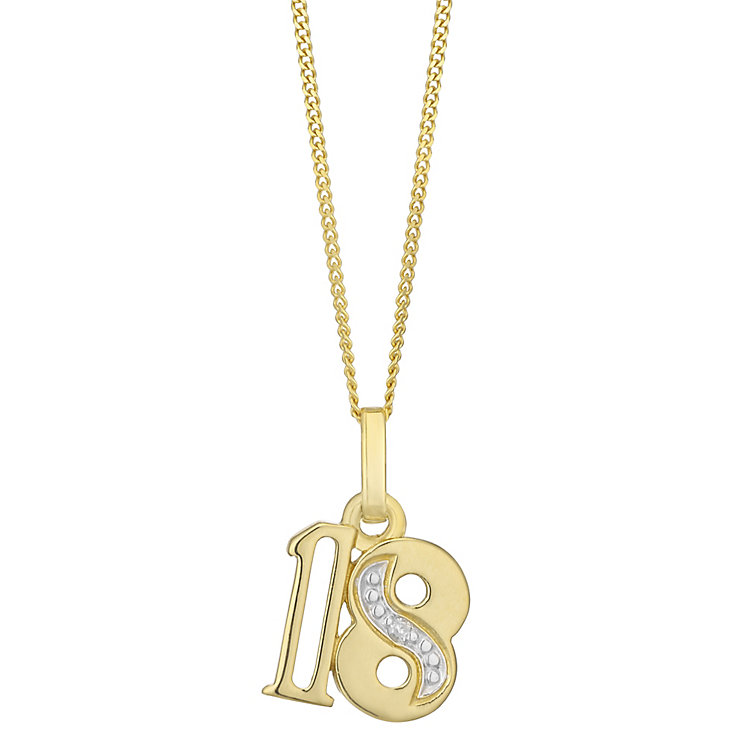 9ct Gold Diamond Set Age 18 Pendant - Product number 4761006