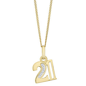 9ct Gold Diamond Set Age 21 Pendant - Product number 4761014