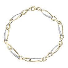 9ct Gold Diamond Set Link Bracelet - Product number 4761022