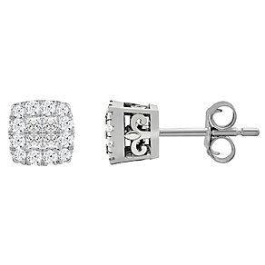 9t White Gold 1/5 Carat Diamond Princessa Stud Earrings - Product number 4761030