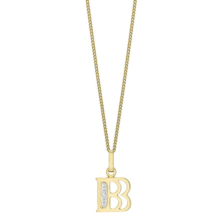 9ct Gold Diamond Set Initial B Pendant - Product number 4761049