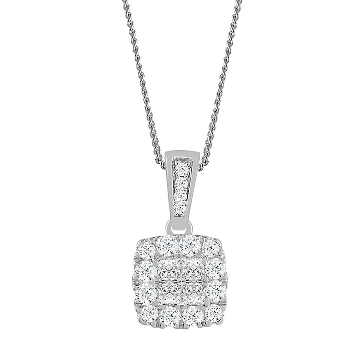 9ct White Gold 0.30 Carat Diamond Princessa Cluster Pendant - Product number 4761057