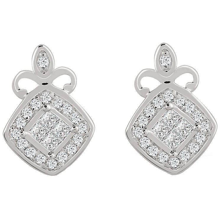 9ct White Gold 0.15 Carat Diamond Princessa Stud Earrings - Product number 4761065